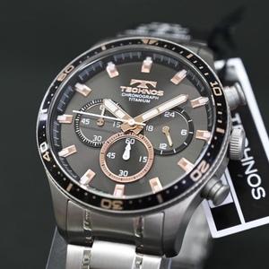 送料無料★特価 新品 TECHNOS正規保証付き★テクノス T6B01IH メンズ腕時計 限定品 オールチタン クロノグラフ★プレゼントにも最適