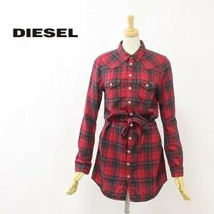 ◆DIESEL/ディーゼル チェック柄 リボンベルト付 コットン チュニック シャツ ワンピース XS