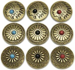 【送料無料】バネホック コンチョ ボタン ターコイズ 9個セット 20mm レザー クラフト 財布 バッグ 手芸 (アンティークゴールド)