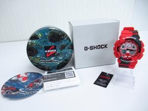 未使用 CASIO G-SHOCK カシオ G-ショック NISHIKIGOI 錦鯉 ブラックアイパッチ GA-100JK-4AJR アナデジ 腕時計 ▼AC20336