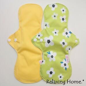 ●布ナプキン(30cm) 2枚 多い日(昼用) 普通の日(夜用) 黄、黄緑花
