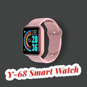 スマートウォッチ Y-68ピンク スマートブレスレット 歩数計 活動量計 心拍計 血圧計 最新版 多機能 Android iPhone