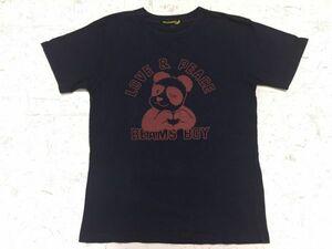 ビームスボーイ BEAMS BOY 半袖Tシャツ レディース パンダ アニマル プリント ハート ラブアンドピース アメカジ 紺