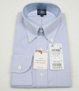 ●定番J.PRESS長袖ボタンダウンシャツ(41-85,白紺ストライプ,YM0061,プレミアムプリーツ(形態安定),日本製)新品