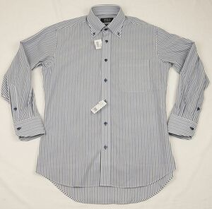 ●POLO魔法のワイシャツ長袖ボタンダウンシャツ(白紺ストライプ,M(39-80),綿100%形態安定)新品