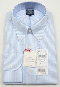 ●定番J.PRESS長袖ボタンダウンシャツ(41-85,白サックスストライプ,YM0041,プレミアムプリーツ(形態安定),日本製)新品