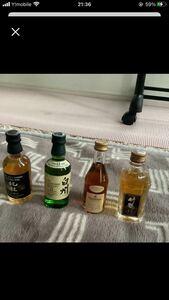 ミニボトル 古酒北杜12年&白州12年&Hennessy &竹鶴12年セットです。