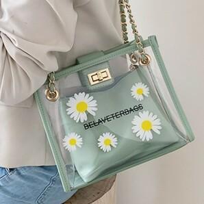 花柄 クリア ショルダーバッグ 緑 デイジー トートバッグ お出かけ 韓国2