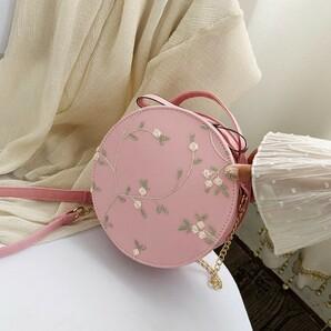 新品 花柄 刺繍 ショルダー バッグ 2way 丸型 ピンク 韓国 海外1