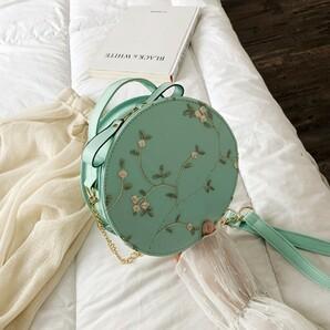 新品 花柄 刺繍 ショルダー バッグ 2way 丸型 グリーン 緑 韓国 海外1