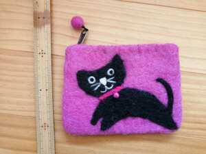 ねこ ネコ 猫 羊毛フェルト ポーチ スクエアポーチ ピンク ハンドメイド