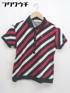 ◇ le coq sportif ルコックスポルティフ ストライプ 半袖 ポロシャツ サイズL ブラック ホワイト レッド レディース