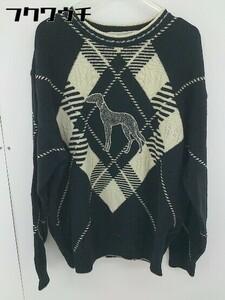 ◇ ◎ adabat アダバット ウール ニット 長袖 セーター サイズⅥ ブラック アイボリー系 メンズ