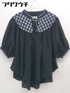 ◇ BEAMS BOY ビームス ボーイ 総柄 刺繍 七分袖 シャツ ブラウス サイズF ブラック ホワイト レディース