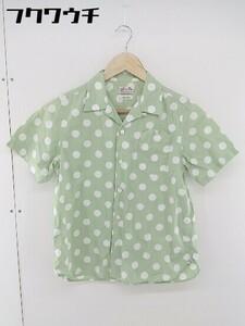 ◇ BEAMS BOY ビームス ボーイ ドット 水玉 半袖 シャツ ブラウス グリーン系 レディース