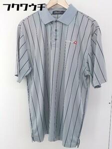 ◇ ◎ le coq sportif ルコックスポルティフ ストライプ 半袖 ポロシャツ サイズLL グレー メンズ