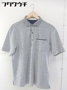 ◇ JOSEPH ABBOUD ジョセフ アブード 半袖 ポロシャツ サイズ2L ネイビー系 メンズ