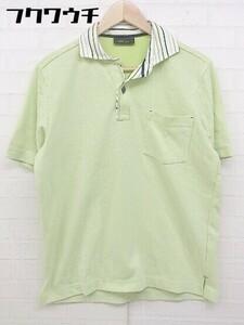 ◇ JOSEPH ABBOUD ジョセフ アブード 鹿の子 半袖 ポロシャツ サイズL グリーン メンズ
