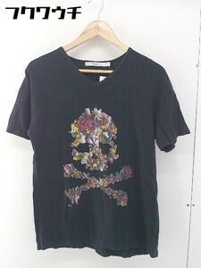 ◇ rehacer レアセル スカル プリント Vネック 半袖 Tシャツ カットソー サイズL ブラック メンズ