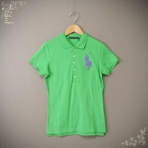 新品未使用*RALPH LAUREN/ラルフローレン/L/ビッグポニービーズ刺しゅう半袖ポロシャツ/グリーン×パープル/緑×紫色/お洒落/カジュアル
