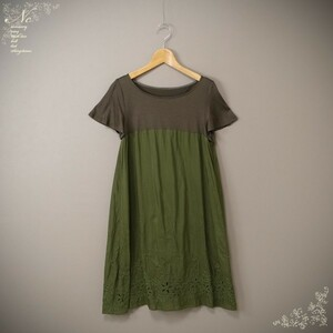 USED*Sybilla/シビラ/L/シルク混/透かし刺繍半袖コットンチュニックワンピース/グリーン系/緑色系/軽量/上品/カジュアル/デイリー/ミセス