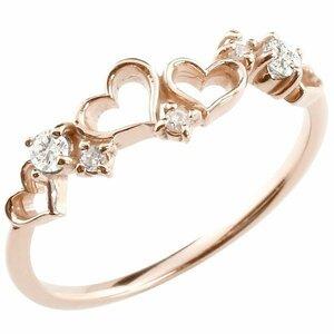 リング ゴールド ダイヤモンド オープンハートダイヤ 指輪 ピンキーリング ピンクゴールドk18 華奢 重ね付け 18金 レディース 送料無料