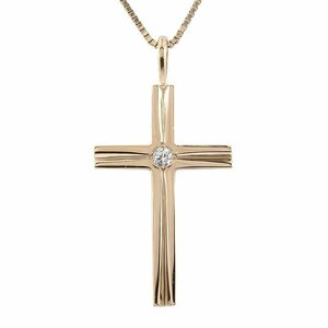 ネックレス メンズ ダイヤモンド ピンクゴールドk10 クロス ペンダント 10金 チェーン ダイヤ 一粒 十字架 男性用 シンプル 人気 送料無料