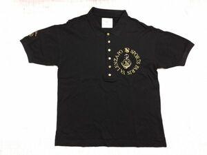 VALENZA PO SPORTS バレンザポー スポーツ ゴルフ ゴールド刺繍 半袖ポロシャツ メンズ 日本製 綿100% M 黒