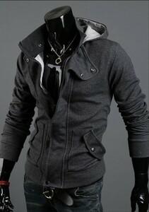 メンズ 長袖 ジャケット パーカー アウター ダークグレー フード ダブルフロント スリム キレカジ ストリート 上着 新品 ★eaN r023