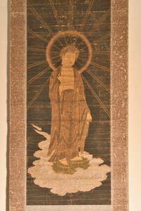 【古美術】雲上 観音菩薩 来迎図 阿弥陀如来 仏画 仏教 掛軸 仏画 佛画 仏像 掛軸 床飾 日本家屋 骨董 和室飾り 掛け軸 掛物