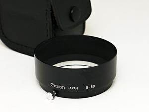 【美品】Canon S-50 レンズフード 金属製 ケース付 L 50mm F1.4 対応品 キャノン 銀塩 フィルム レンジファインダー