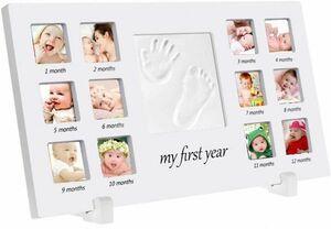 【4241】ベビーフォトフレーム メモリーキットセット 手形 足形 赤ちゃん誕生記念 成長記録 卓上・壁掛け両用 贈り物