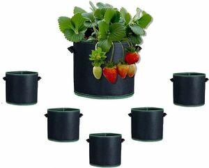 【4285】不織布ポット6個セット 栽培布鉢 フエルトプランター 園芸 植物育成 野菜栽培 通気性抜群 3ガロン 高さ22cm×直径25cm エコ