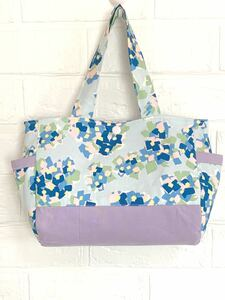 ハンドメイド 紫陽花柄サイドポケット付きトートバッグ