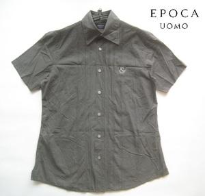 高級2.2万!!エポカ ウォモ EPOCA UOMO*ロゴワッペン付き半袖コットンシャツ 46 実寸M カーキ 日本製 三陽商会