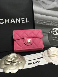 まま様専用 美品 30番台 シャネル マトラッセ キャビアスキン三つ折り財布 正規品