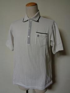 Munsingwear マンシングウェア ペンギン刺繍 日本製 半袖 鹿の子 ポロシャツ Sz.L メンズ 白 ゴルフ デサント コットンポリエステル