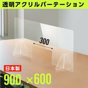 日本製 透明アクリルパーテション W900mm × H600mm 窓あり アクリル板 間仕切り 飛沫防止 打ち合わせ 組立 パーティション fpc-9060-m30