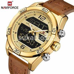 PI013:男性腕時計 NAVIFORCE トップブランドの高級革スポーツ腕時計男性防水ミリタリークォーツデジタル時計レロジオ M