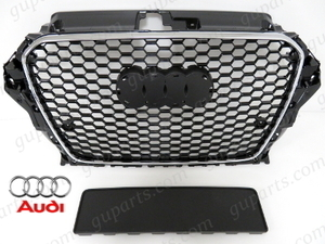 ■ AUDI A3 S3 → RS3 LOOK 前期 '13~'16 8V 8VC フロント メッシュ ラジエーター グリル 8VCXS 8VCJSF 8VCPT 8VCXSL 8VCPTL 8VCJSL 8VCJXF