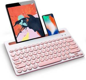 Bluetoothワイヤレス キーボード コンパクトタブレットキーボード マルチデバイス対応のワンキー切り替え機能付き スタンド付き