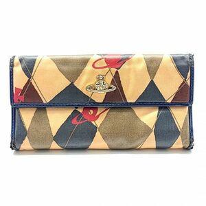ヴィヴィアンウエストウッド Vivienne Westwood 長財布 Wホック 両面開き オーブ ロゴ ベージュ系 ネイビー系 レディース 02-V-21060202