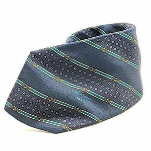 ロンシャン LONGCHAMP ネクタイ 総柄 ストライプ 絹 シルク100% フォーマル 正装 服飾 小物 スーツ 青 ブルー系 メンズ 02-Y-21062302