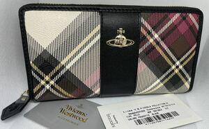 Vivienne Westwood ヴィヴィアンウエストウッド チェック ラウンドファスナー 長財布 未使用 ブラック