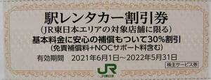 ★JR東日本 株主優待券 駅レンタカー30%割引券 期限 2022年5月31日 まで