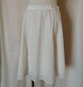 美品 DUAL VIEW デュアルヴュー 総レース カットワーク スカート サイズ40(Mサイズ) 白 ホワイト コットン 綿100%