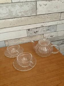 耐熱ガラス ティーセット ティーポット ティーカップ&ソーサー