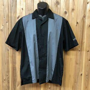 PORT AUTHORITY/ポートオーソリティー メンズ M 半袖シャツ ワークシャツ 開襟 オープンカラーシャツ トップス 縦柄 アメカジ USA古着