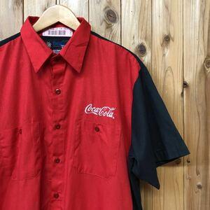 UniWeave/メンズ XL-SS ワークシャツ 半袖シャツ トップス 企業系 Coca-Cola 作業着 赤×黒 ポリエステル×コットン アメカジ USA古着
