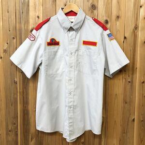 AWANA/アワナ メンズ L ワークシャツ 半袖シャツ エポレットシャツ ワッペン付 Awana CLUBS 星条旗 企業系 作業着 制服 アメカジ USA古着